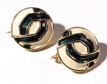 Pair vintage Marcel Boucher geometric enamel earrings signed numbered 9129E  D111-28