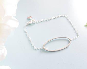 Bracelet size adjustable sterling silver oval
