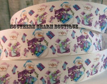 "3 yards of 1"" Christmas blue and purple Santa and snowman grosgrain ribbon"