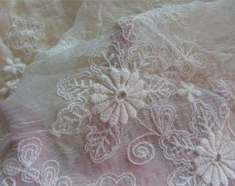IVORY daisies Embroidery silk fabric,crinkle silk chiffon lace fabric in beige,wedding dress fabric-ZSME0020