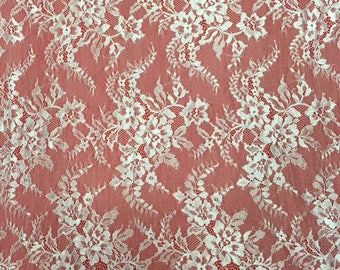 "Lace Fabric sell by yard ,off  White Chantilly Lace fabric  for wedding 59"" width-7198"