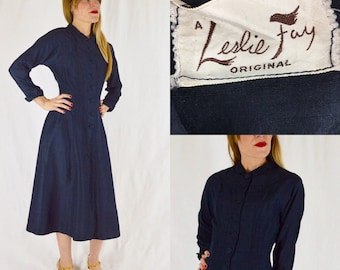 S/M 1950s Leslie Fay Original Navy Blue Silk Shirtwaist Dress