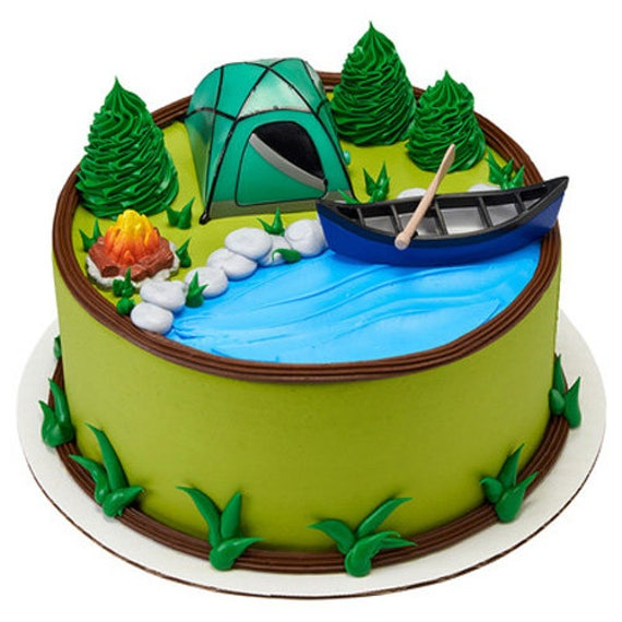 Camping 4 Piece Cake Kit Cake Toppers Decorations Party Favors