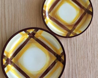 Vernonware Organdie salad and bread plates yellow and brown plaid produced 1937 to 1958 sold individually