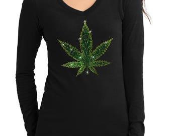 New Junior Rhinestone Weed Leaf  V-Neck long sleeve T-Shirt all size S-3XL