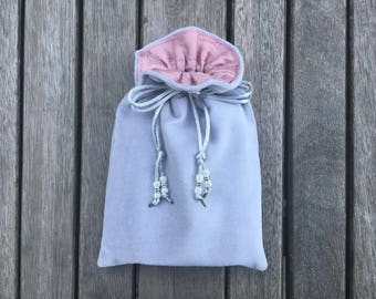 Silver Grey Cotton Velvet Tarot / Oracle Bag Lined with Pink Blush Dupion Silk