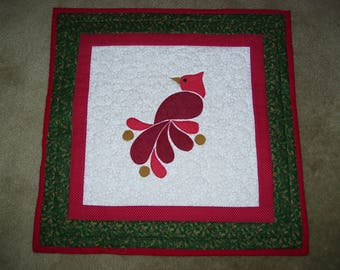 Cardinal quilt-Christmas wall quilt-Small Christmas wall quilt-Holiday wall quilt