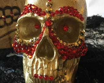 Decorative Gold Skull with Red and Gold Aurum Swarovski Stones