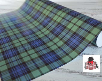 Blue, black and green black watch tartan plaid wrapping paper sheets Christmas gift wrap GW1822