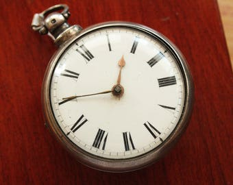Antique British Verge Fusee Pair Case Pocket Watch - Sterling Silver - 1800s - NOT WORKING