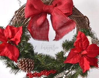 Christmas Holiday Poinsettia Wreath - Merry Christmas Holiday Winter Grapevine Red Flower Wreath
