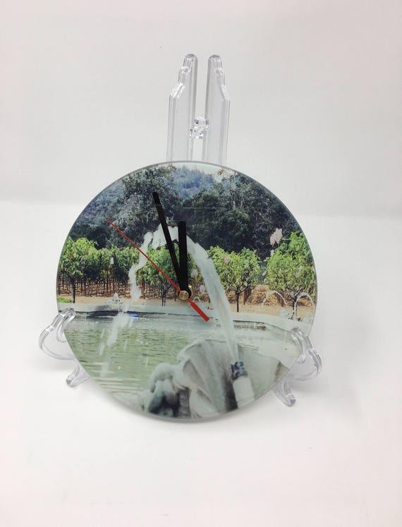 Photo Clock, California Clock, California Gift, Wall Clock, Unique Wall Clock, Modern Clock, Vintage clock, Ledson Winery, Custom Printed