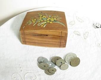 Pretty French vintage money box/bagneres de Luchon wooden money box/giftware/vintage souvenirs/french souvenirs