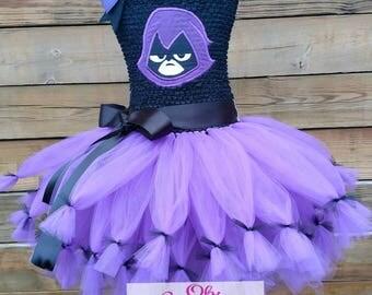 Raven Teen Titans Go inspired tutu dress, Raven, Teen Titans Go, Teen Titans Tutu dress, Crochet top tutu dress, Teen Titans