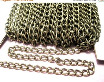 50% OFF Clearance Sale-- 10 Ft Antique Bronze Curb Twisted Chains Links-Opened 6x4mm (No.925)