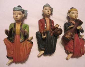 Tribal Musicians Celtic Carved Hand Colored Wood Figures Decorated Mirrors