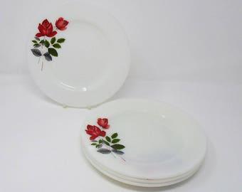 JAJ Pyrex June Rose Dessert Salad Plate Vintage 1960's