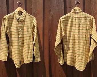 Sears Mustard Green Plaid Shirt Men's Vintage Dress Shirt Long Sleeve Button Down Collar Sz Small