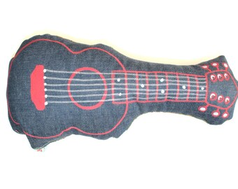 Guitar pillow rock pillow, cushion, guitar, cowboy, deco western, country, Wild West, graffiti, pop, children's room, usa