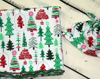 Christmas Trees Stretch Knit Receiving Blanket With Matching Top Knot Beanie