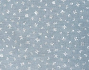 Fabric - Sevenberry - Floral print pale blue chambray woven yarn dyed cotton.