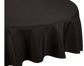 Black Round Wedding Linentablecloth 120 Inch Round Banquet Polyester Cloth, Wrinkle Resistant Quality Tablecloth For Special Events Or Party
