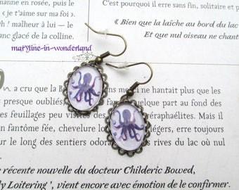 Octopus steampunk Octopus kraken octopus cabochon earrings