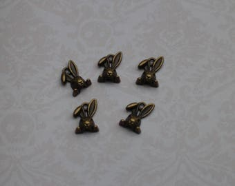 Set of 5 bronze rabbit charms