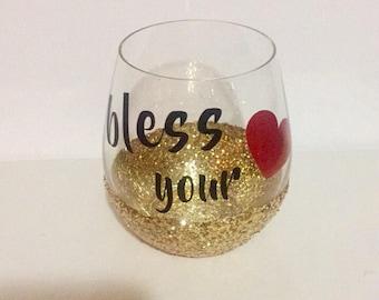 Custom Glitter Wine Glass