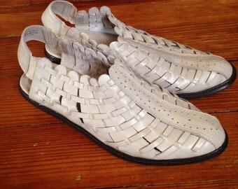 Vintage Woven White Leather Annie Flex Shoes