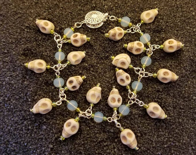 Skull Bracelet, Custom Made with Opalite and Czech Glass Seed Bead