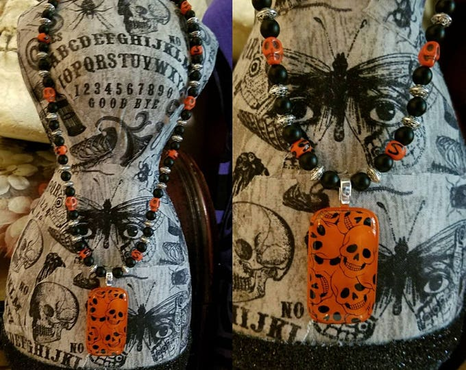 Featured listing image: Day of the Dead Orange Glass Halloween Skull Pendant, Halloween Skull Necklace, Skull Necklace