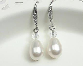 Boucles d'oreilles mariage perles, crochets d'oreilles strass, bijoux mariage perles, boucles d'oreilles mariées zircons, boucles perles