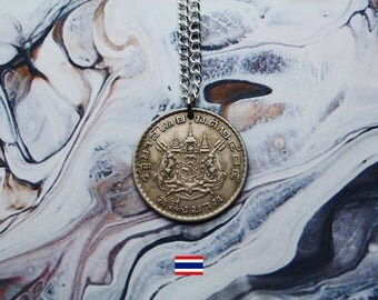 Thai 1 Baht (1962) Handmade Silver Coin Necklace - Silver Plated Chain.