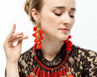 big statement red necklace rope chain yarn pendant chunky tassel necklace