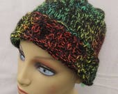 Multi-coloured Alpaca Hat, Black, with Red, Green and Yellow Splashes of Colour Alpaca Beanie, Unisex