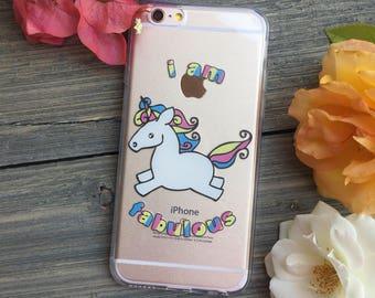 Fabulous Unicorn iPhone Case, Your choice of Soft Plastic (TPU) or Wood