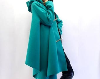 SALE 25% OFF Plus Size Coat / Wool Spring Coat / Asymmetrical Coat / Loose Coat TC02