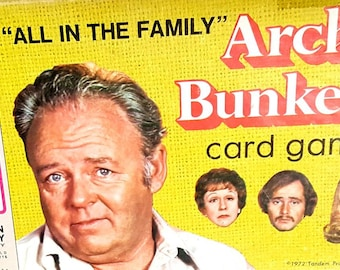 Vintage Card Game, All in the Family Archie Bunker Card Game - Vintage 1972 Milton Bradley Game - Retro TV