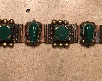 Vintage taxco sterling silver green onyx mexican bracelet