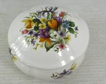 San Francisco  Music Box Company Floral Pattern Ceramic Trinket Box