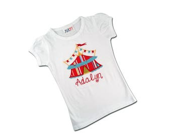 Girl's Circus Shirt with Circus Tent and Embroidered Name
