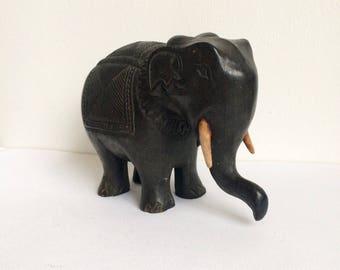Vintage Wooden Elephant Figurine