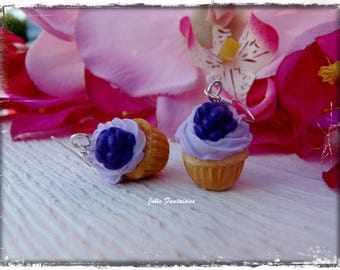 """BlackBerry Cupcakes"" greedy earrings with polymer clay"