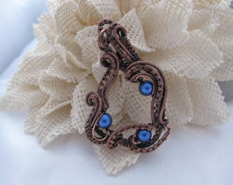 Handmade Wire Wrap Copper Pendant with Blue Beads and Copper Ball Chain Necklace