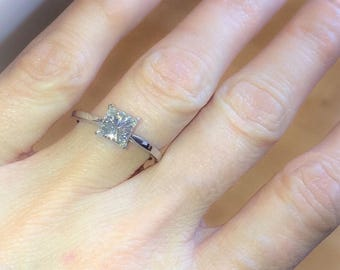 Forever One Moissanite Engagement Ring 1.0ct Princess Cut 14kt White Gold Solitaire Nature Inspired Bloomed Love Ring Pristine Custom Rings