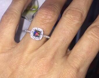 Black Opal Ring  .27ct Genuine Diamonds Fashion Birthstone Anniversary Ring VALENTINES gif Opal Ring Seamless Halo Pristine Custom Rings