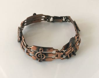Copper bracelet musical notes piano link vintage jewelry