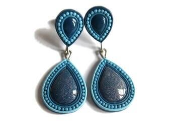Indigo Blue Earrings, Indigo Earrings, Indigo Wedding, Indigo Bride, Blue Wedding, Wedding Earrings, Wedding Jewelry, Stud Teardrop Earrings
