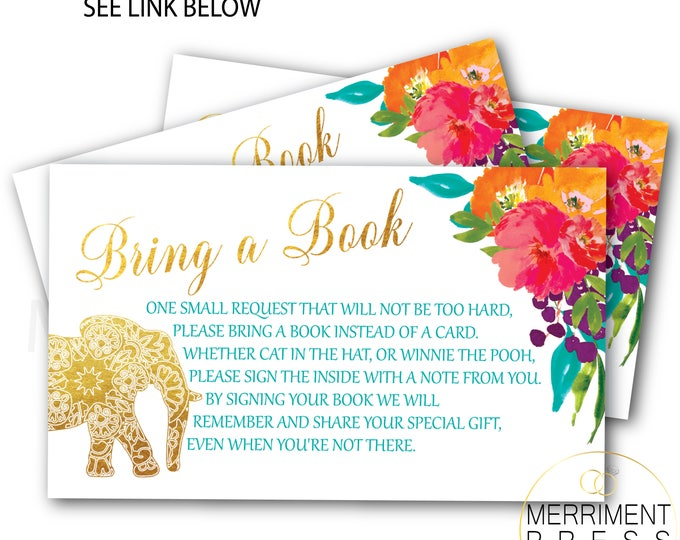 Elephant and Indian Themed Bring a Book Card // Gold // Watercolor // Mandala // Colorful // Instant Download // JAIPUR COLLECTION